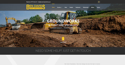 Web design for Ben Davies Plant Hire in Llanbrynmair near Newtown Powys