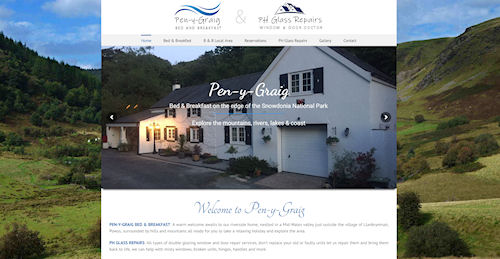 Web Design for Pen-y-Graig Bed nd Breakfast in Llanbrynmair near Newtown Powys