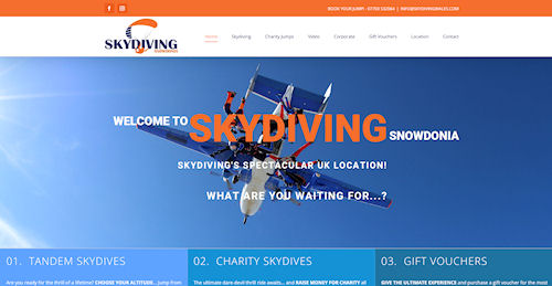 Skydiving website for Skydive Snowdonia in Welshpool