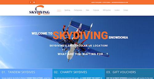 Sky Diving Wales - Web Design Welshpool
